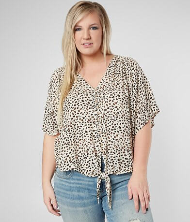Daytrip Leopard Front Tie Top - Plus Size Only