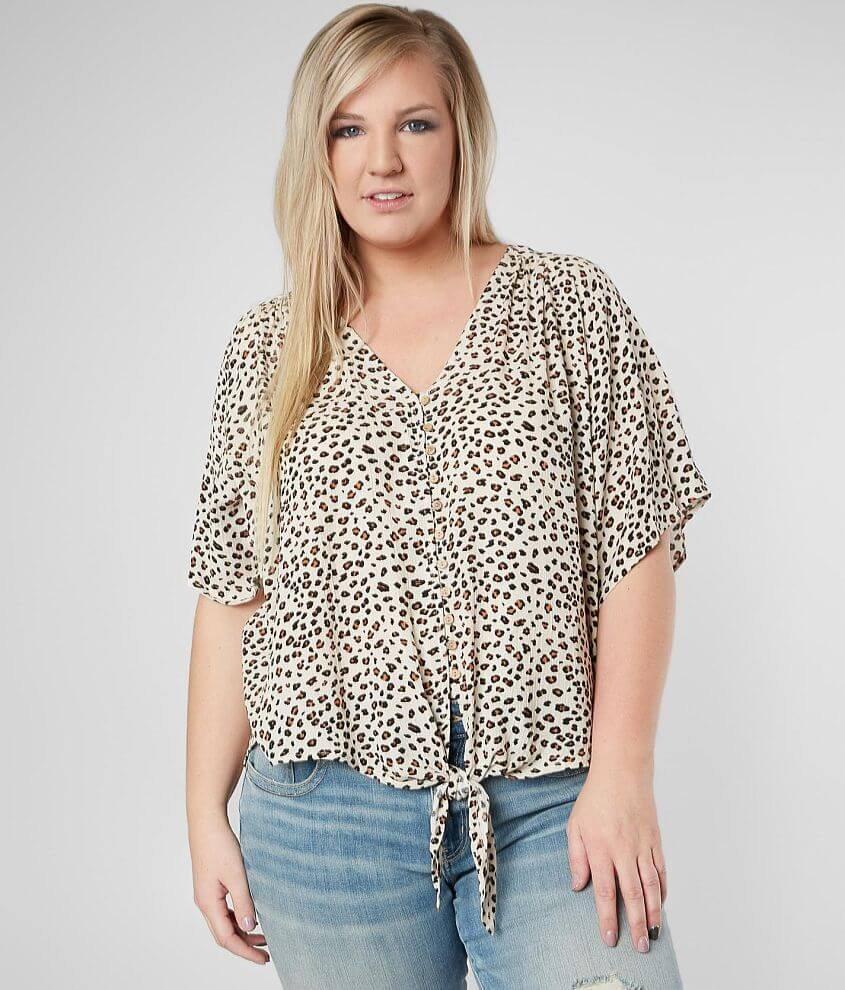 873647a4aa4 Daytrip Leopard Front Tie Top - Plus Size Only - Women s Shirts ...