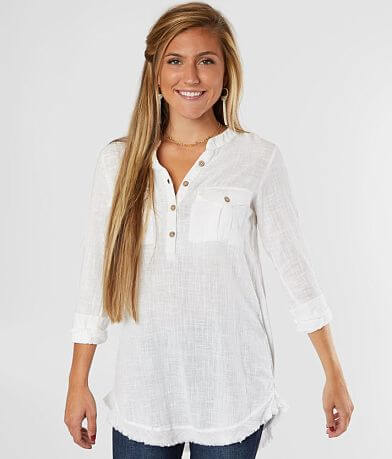 Daytrip Raw Edge Henley Tunic Top