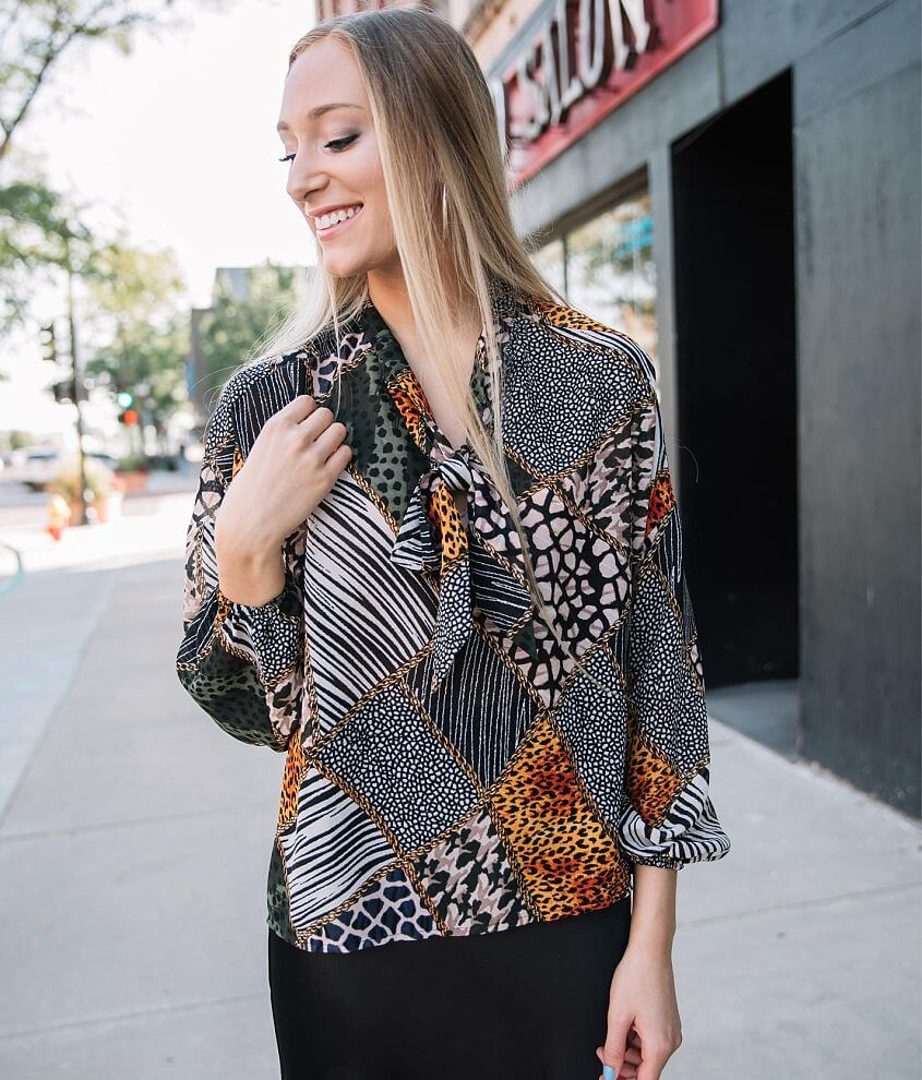Willow & Root Multi Animal Print Blouse front view