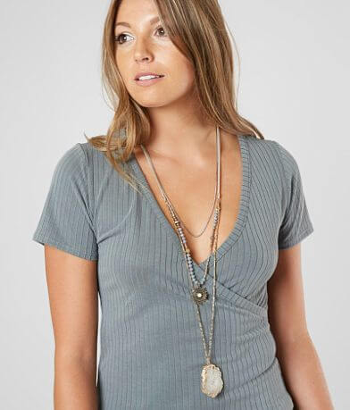 BKE Tiered Stone Pendant Necklace
