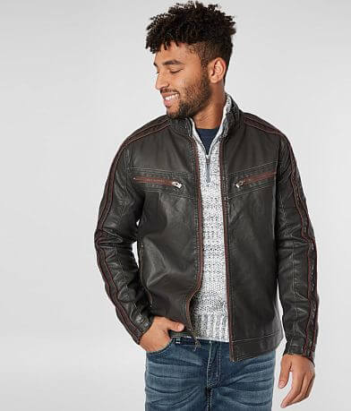 X-Ray Jeans Distressed Faux Leather Jacket