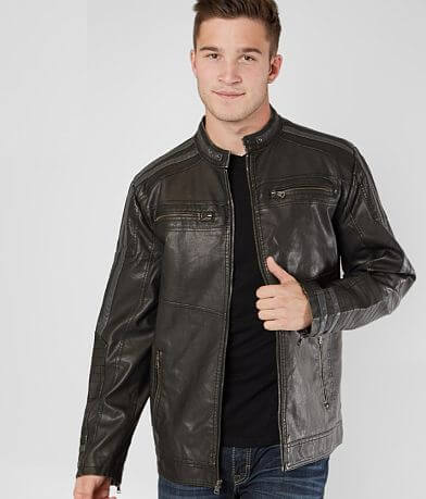 BKE Pieced Faux Leather Jacket