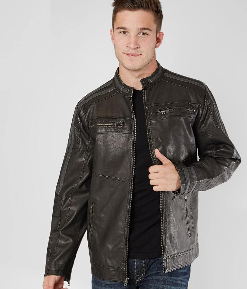 BKE Pieced Faux Leather Jacket front view