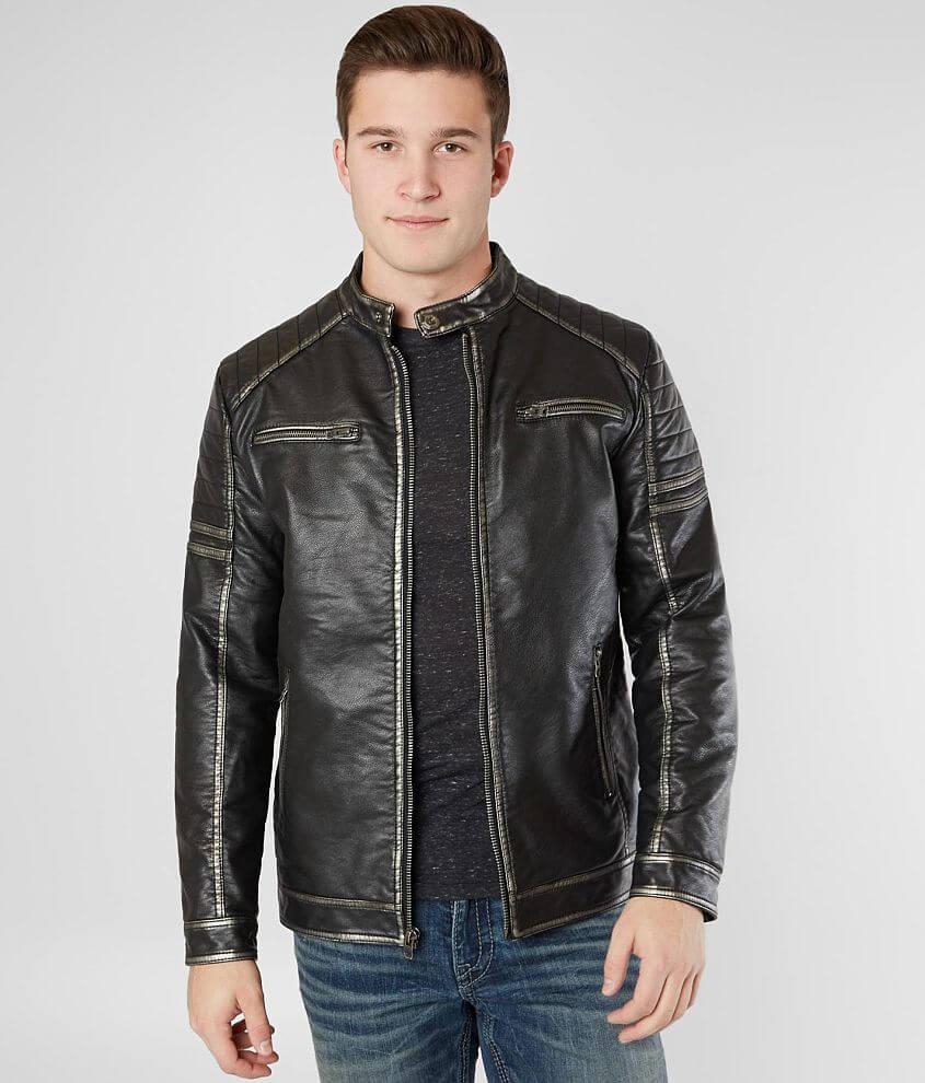 Buckle Black Faux Leather Jacket - Men's Coats/Jackets in Black | Buckle