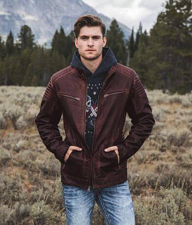 Buckle Black Faux Leather Washed Jacket