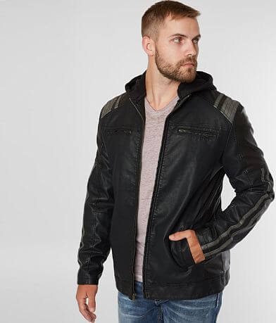Buckle Black Faux Leather Hooded Jacket