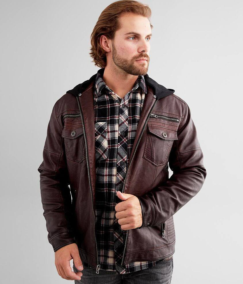 Buckle Black Washed Faux Leather Hooded Jacket front view