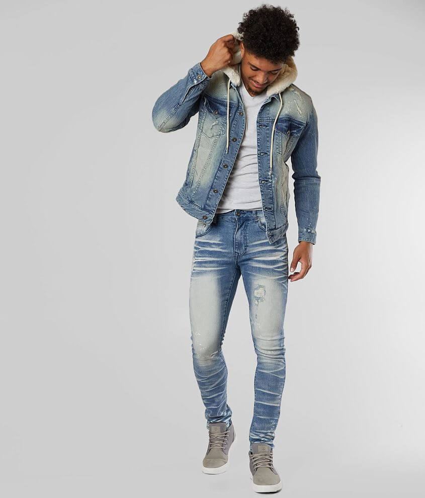 Smoke Rise® Destructed Denim Stretch Jacket front view