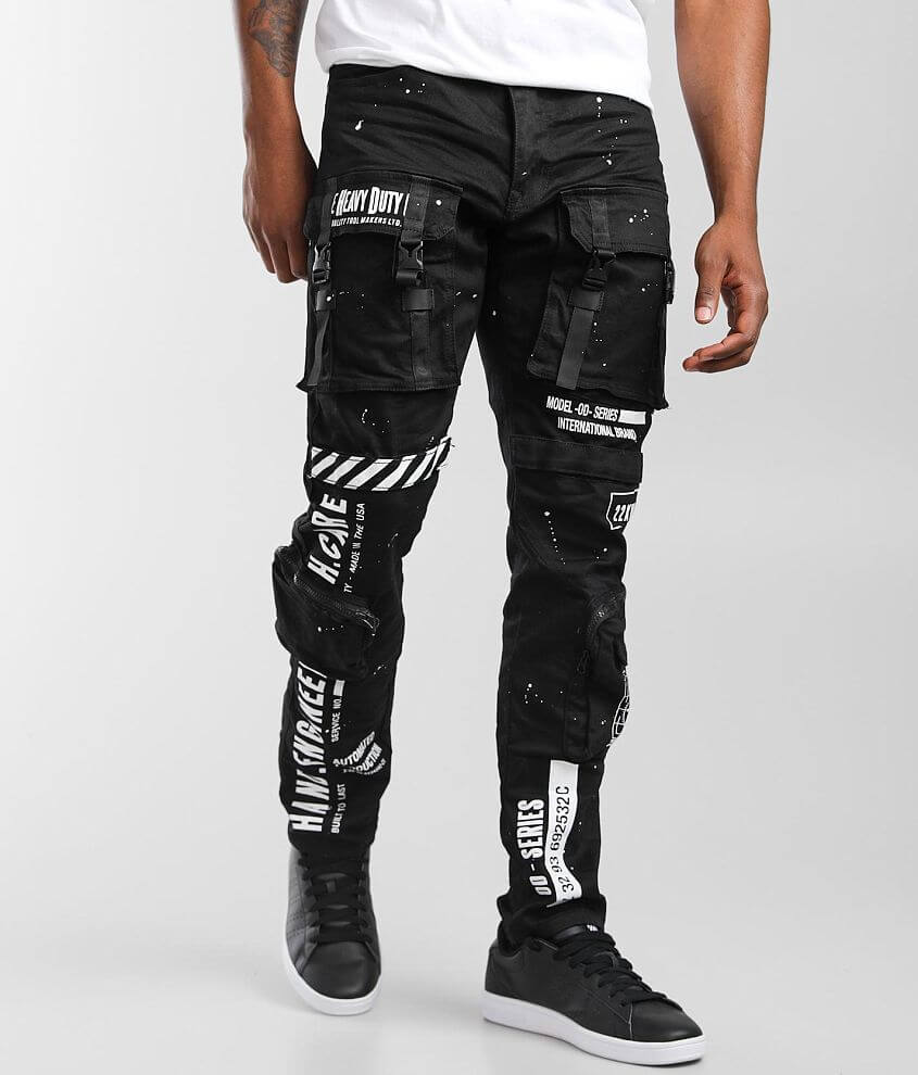 Smoke Rise® Black Taper Stretch Cargo Jean front view