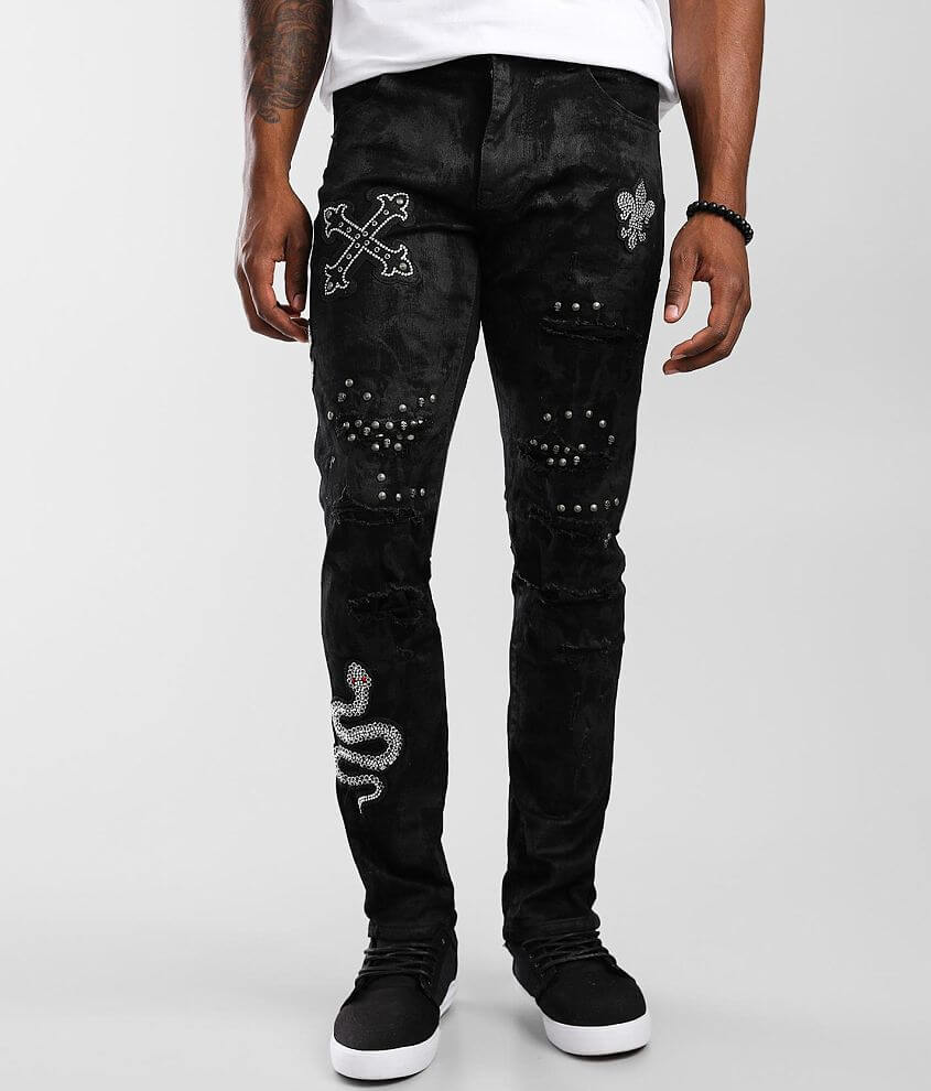 Smoke Rise® Coal Black Taper Stretch Jean front view