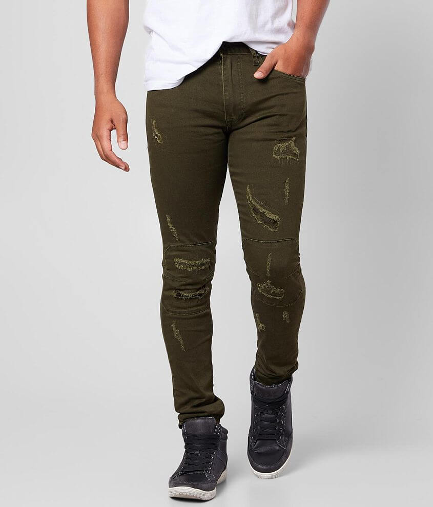 Smoke Rise® Olive Taper Stretch Jean front view