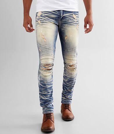 Smoke Rise® Washed Moto Taper Stretch Jean