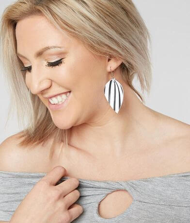 Nichole Lewis Designs Striped Leather Earring