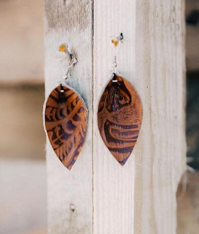 Nichole Lewis Designs Embossed Leather Earring