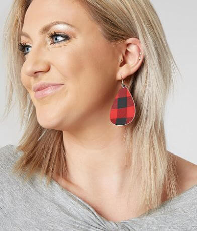 Nichole Lewis Designs Plaid Leather Earring