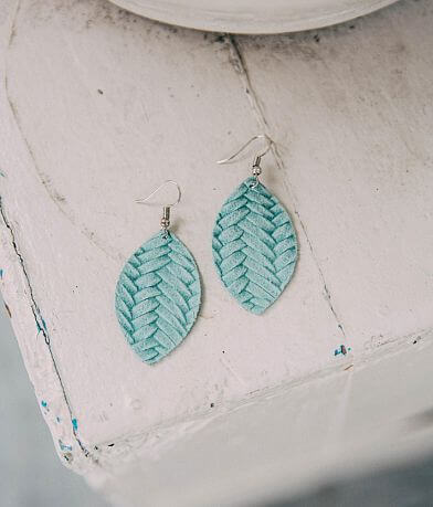 Nichole Lewis Designs Leather Leaf Earring