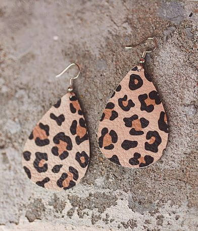 Nichole Lewis Designs Leather Cheetah Earring