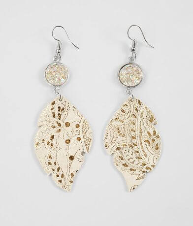 Nichole Lewis Designs Druzy Leather Earring