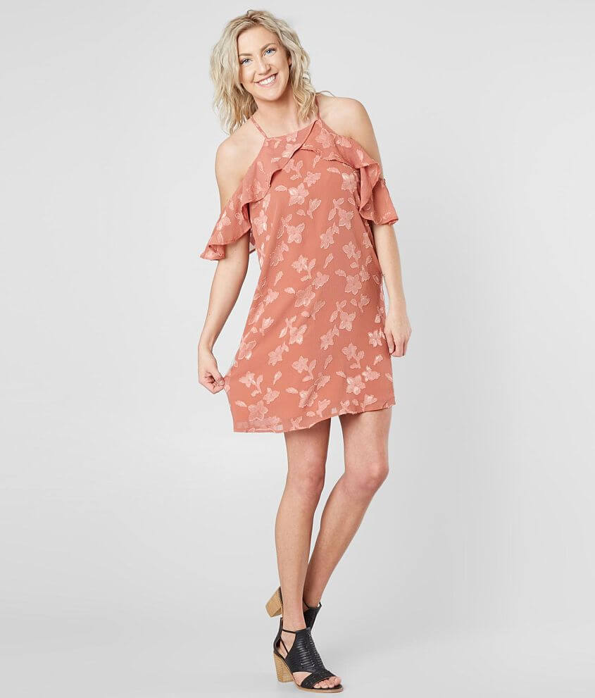 19 Cooper Floral High Neck Dress Womens Dresses In Mauve