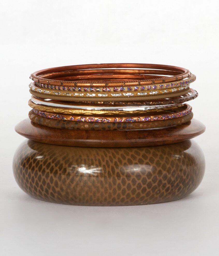 BKE Wooden Bangle Bracelet Set front view