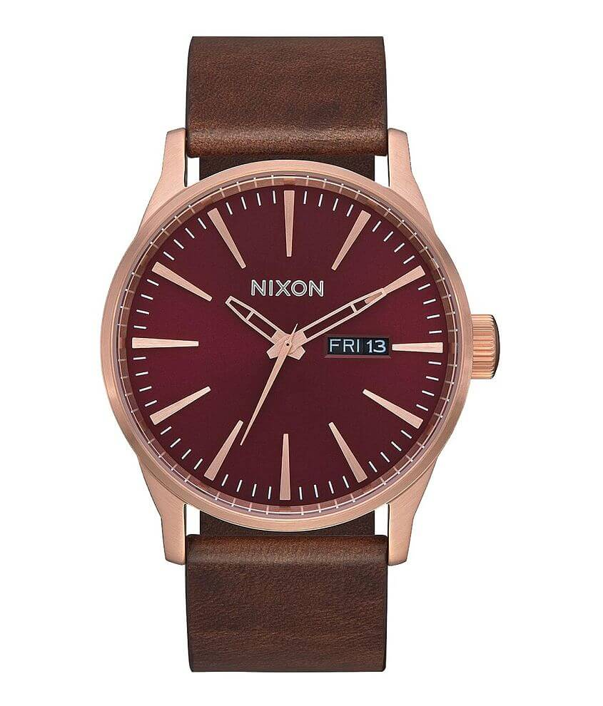 Nixon The Sentry Leather Watch front view