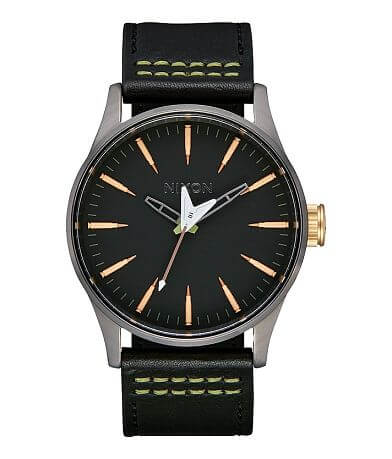 Nixon The Sentry Seek & Destroy Leather Watch