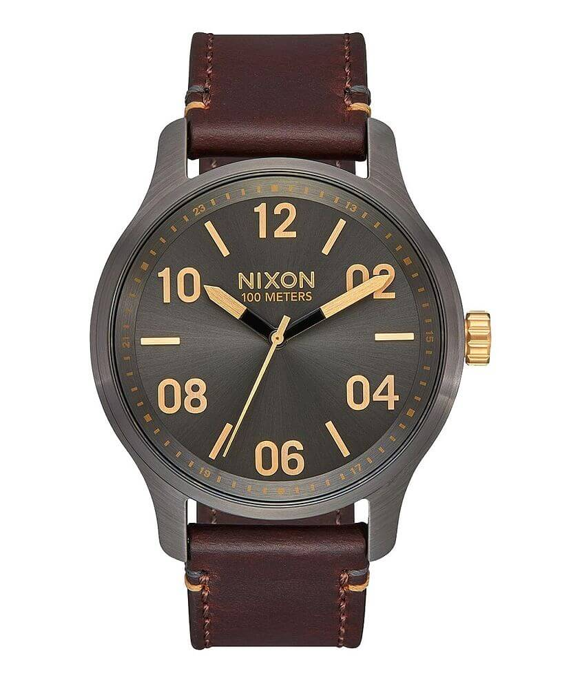 Nixon The Patrol Leather Watch front view