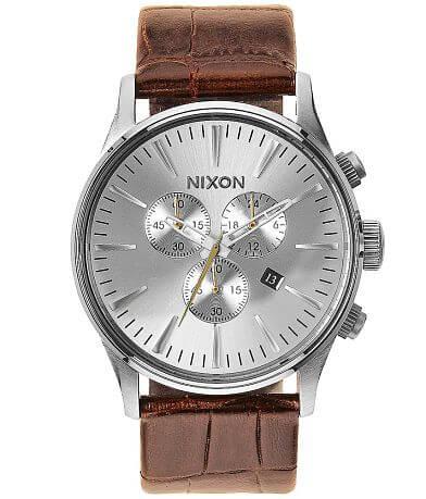 Nixon The Sentry Chrono Leather Watch