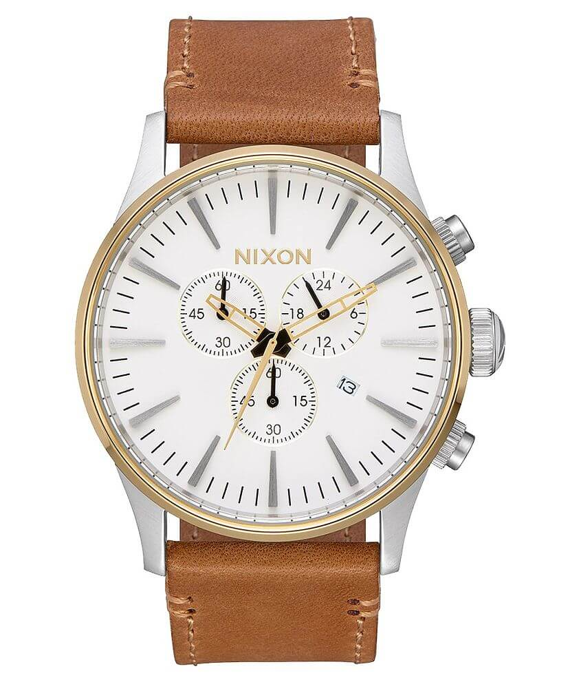 c88149e259c Nixon The Sentry Chrono Watch - Men s Watches in Gold Cream Tan