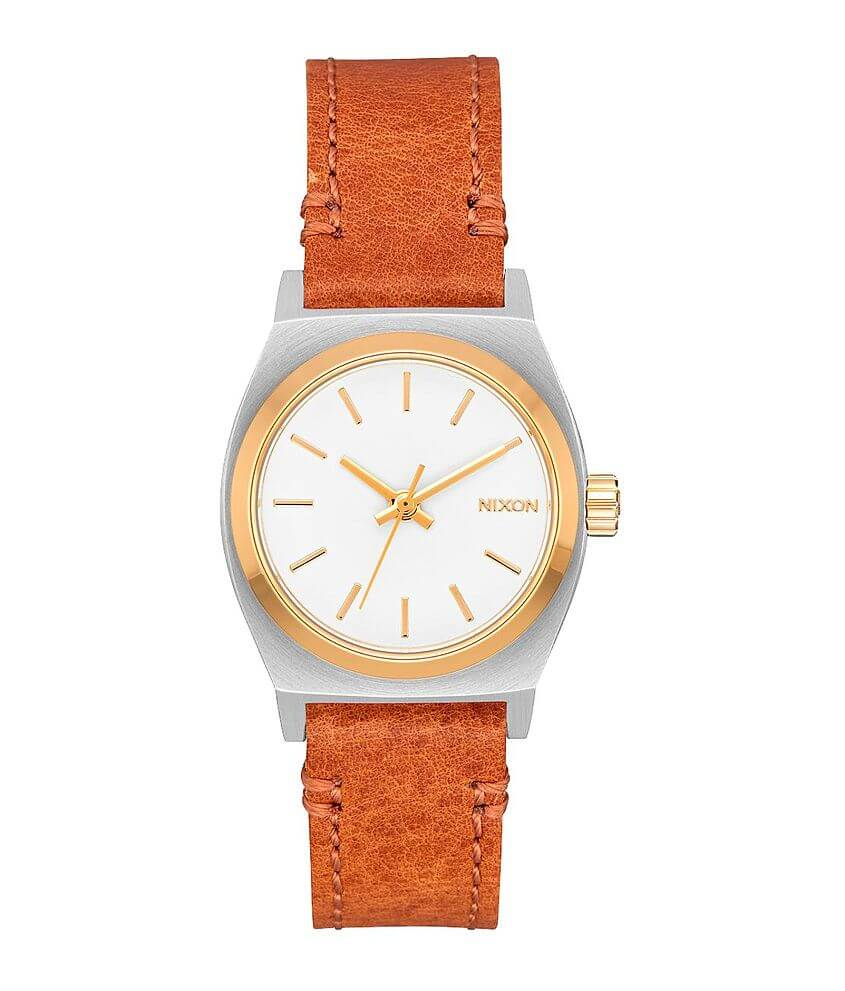 Nixon The Small Time Teller Leather Watch front view