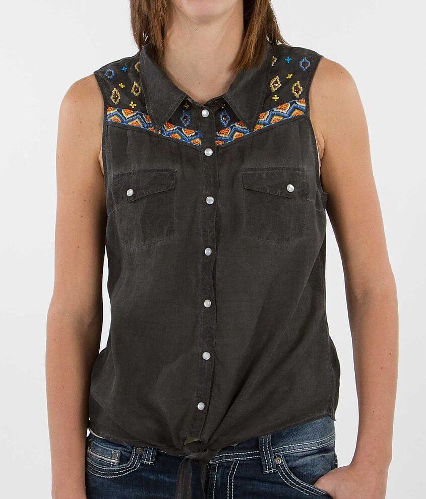 BKE Beaded Sleeveless Shirt front view
