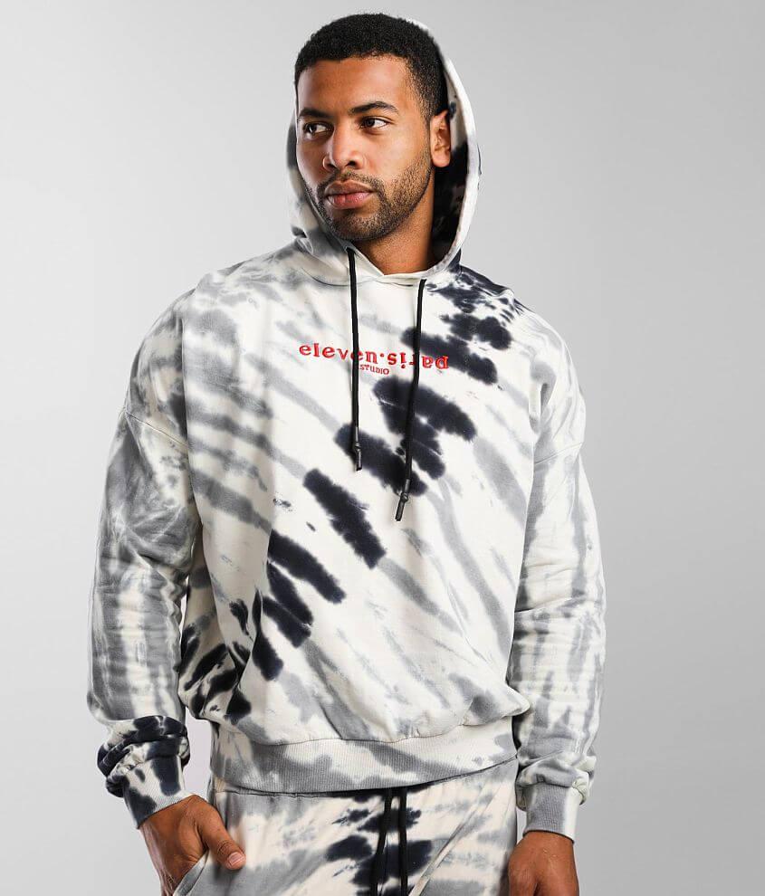 Elevenparis Oatmeal Tie Dye Hooded Sweatshirt front view