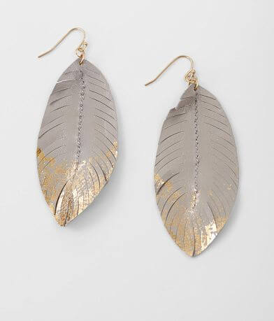 BKE Metallic Feather Earring