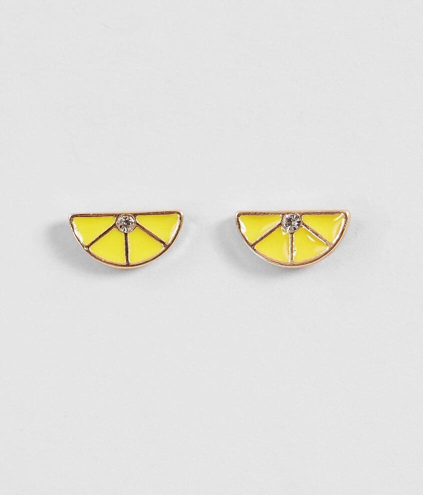 BKE Lemon Rhinestone Earring front view