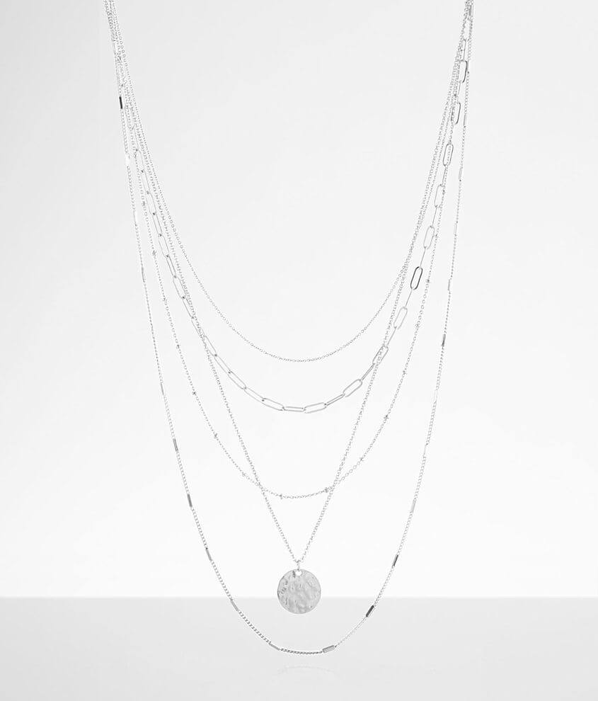 BKE Tiered Paperclip Chain Necklace front view