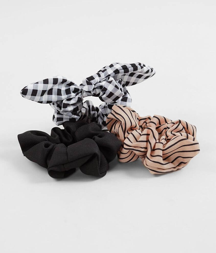 Solid, striped and gingham printed stretch scrunchies