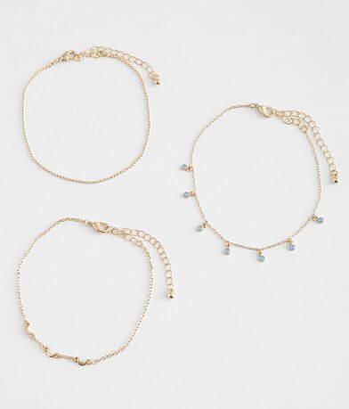 BKE 3 Pack Moon Ankle Bracelet Set