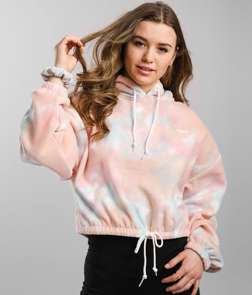OBEY Russett Fleece Cropped Hoodie front view
