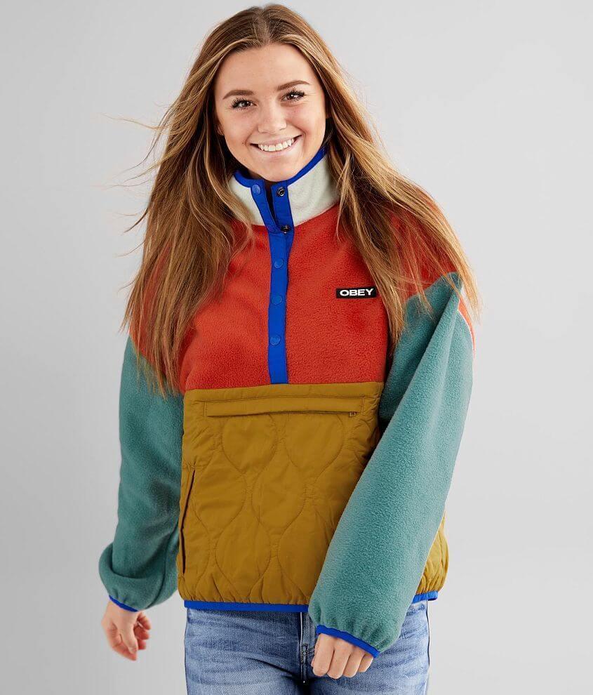OBEY Juniper Pieced Fleece Pullover front view