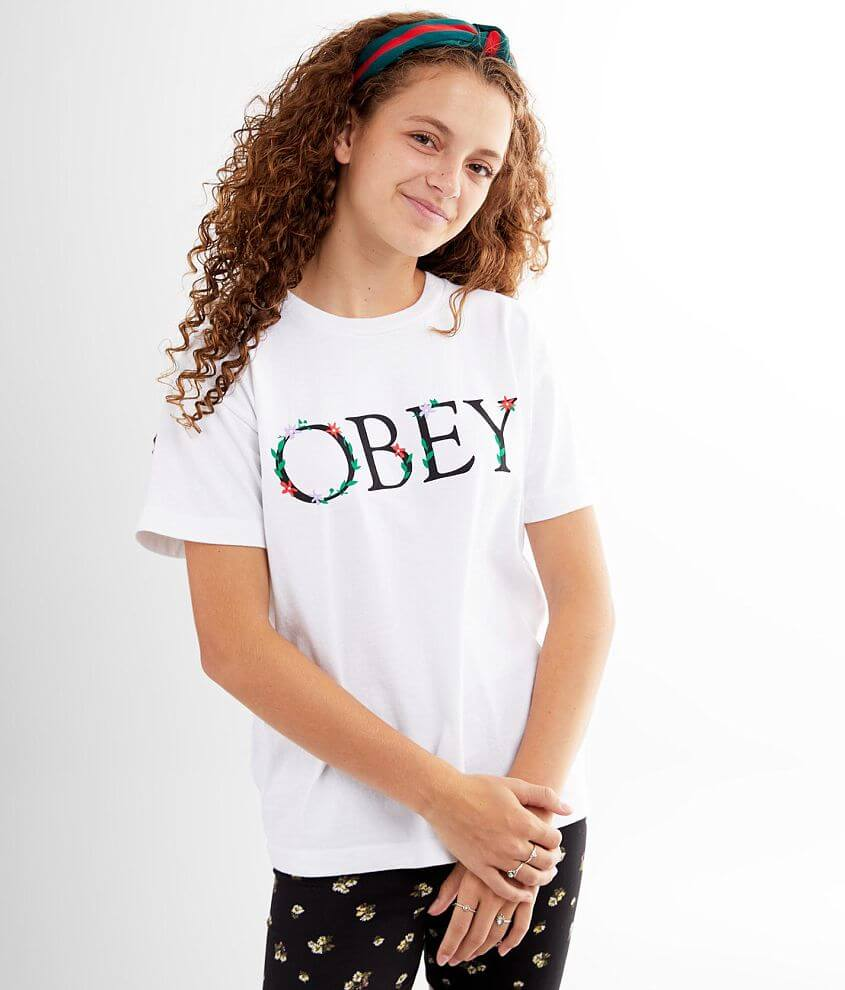 OBEY Flower Serif T-Shirt front view
