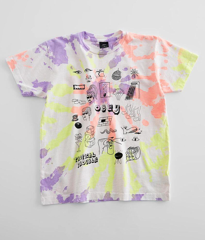 OBEY Tropical Trouble Tie Dye T-Shirt front view
