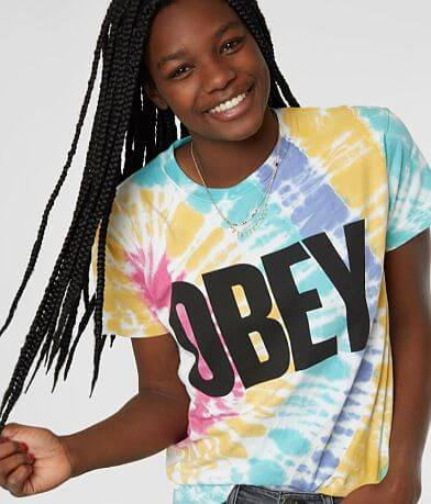OBEY Mom Jeans Tie Dye T-Shirt
