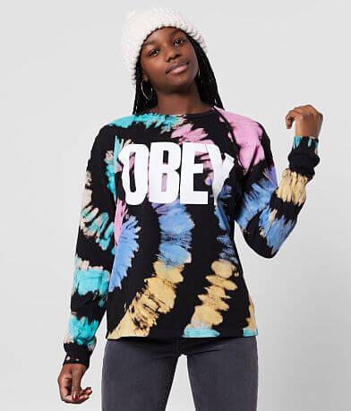 OBEY Mom Jeans Tie Dye T-Shirt