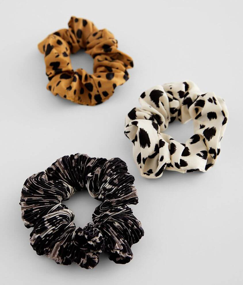 3 Pack Printed Hair Scrunchies front view