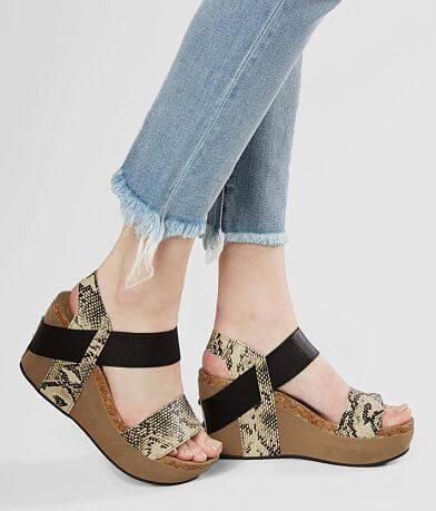 Pierre Dumas Hester Snakeskin Wedge Sandal