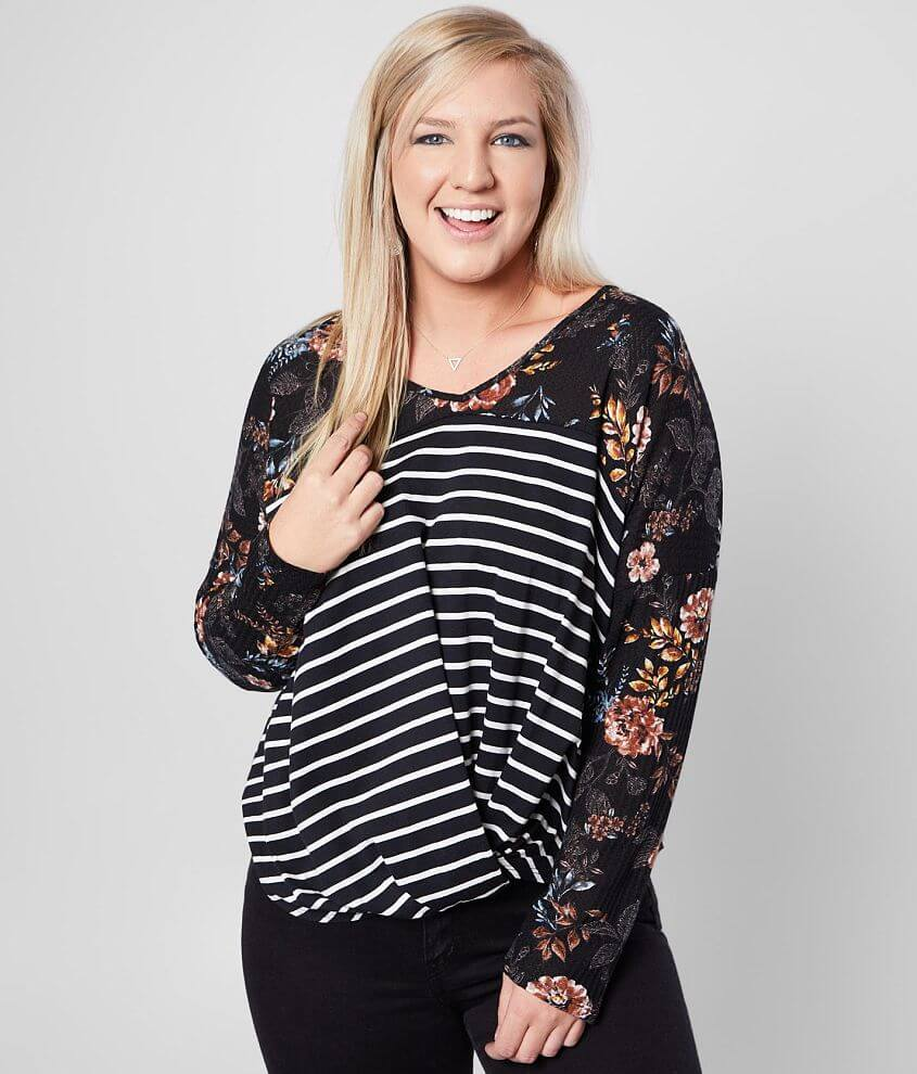 Daytrip V-Neck Twisted Hem Top- Plus Size Only front view