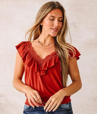 Willow & Root Double V-Neck Ruffle Trim Top