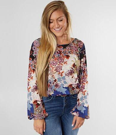 Daytrip Floral Mesh Scoop Neck Top