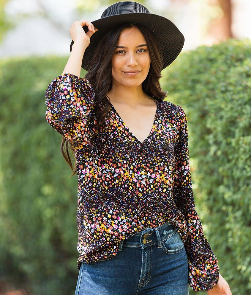 Willow & Root Ditzy Floral Print Blouse front view